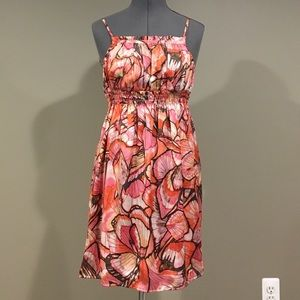 Coral flowered spaghetti strap dress